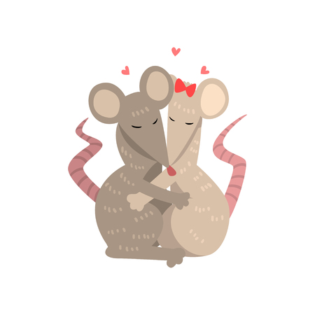 Couple of cute mice in love embracing each other, two happy  aniimals hugging with hearts over their head vector Illustration on a white background Çizim