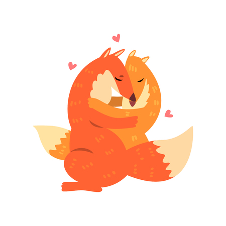 Couple of cute red foxes in love embracing each other, two happy  aniimals hugging with hearts over their head vector Illustration on a white background Çizim