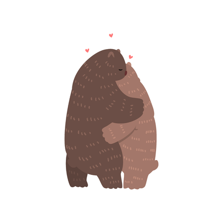 Couple of cute bears in love embracing each other, two happy aniimals hugging with hearts over their head vector Illustration on a white background