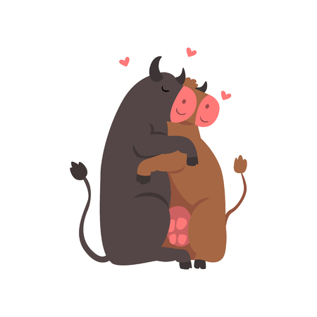 Couple of cute cows in love embracing each other, two happy aniimals hugging with hearts over their head vector Illustration on a white background Illustration