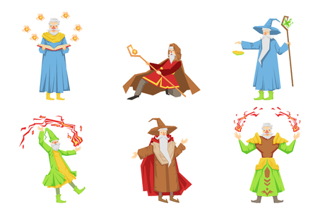 Flat vector set of magicians in different actions. Old gray-bearded wizards. Cartoon characters with magical powers Illustration