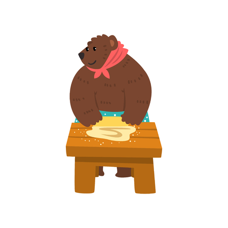 Humanized female bear character dressed in human clothes kneading the dough on the table cartoon vector Illustration on a white background Vectores