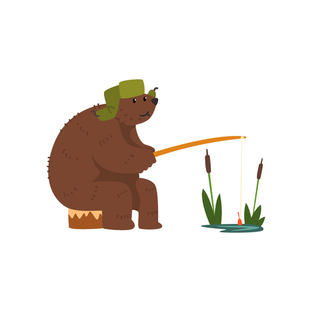 Humanized male bear character catching fish with rod cartoon vector Illustration on a white background