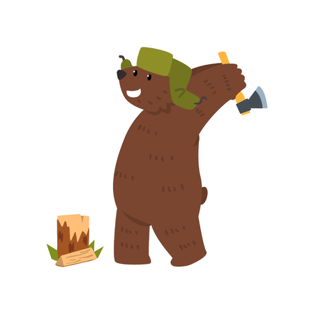 Humanized male bear character with ax chopping wood cartoon vector Illustration on a white background  イラスト・ベクター素材