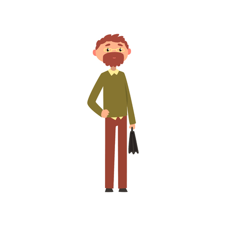 Bearded man in casual clothes and glasses standing with a briefcase cartoon vector Illustration on a white background Illustration