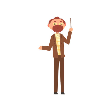 Middle aged professor standing with pointer, school teacher cartoon vector Illustration on a white background Çizim