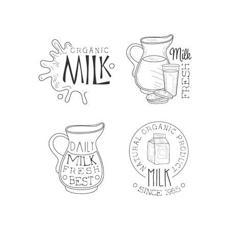 Vector set of monochrome emblems for dairy production business.  milk splashes, jugs, cardboard packaging and glass with cookies Stock Illustratie