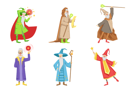 Flat vector set of gray-bearded wizards. Cartoon characters of old men s with magical powers. Elements for mobile game or children book Çizim
