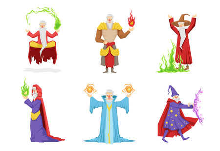 Flat vector set of fantasy wizards from children fairy tales. Old gray-bearded men s in different actions