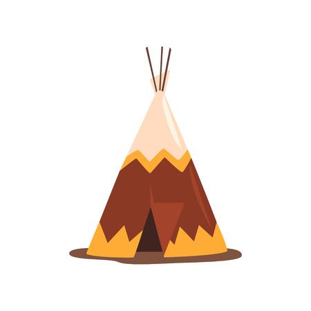 Tipi lub wigwam, mieszkanie narodów północnych Kanady, Syberii, Ameryki Północnej wektor ilustracja na białym tle