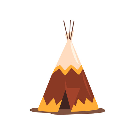Tipi o tienda india, vivienda de las naciones del norte de Canadá, Siberia, vector de América del norte ilustración sobre un fondo blanco