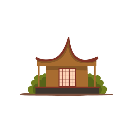 Wooden traditional chinese house vector Illustration on a white background Иллюстрация