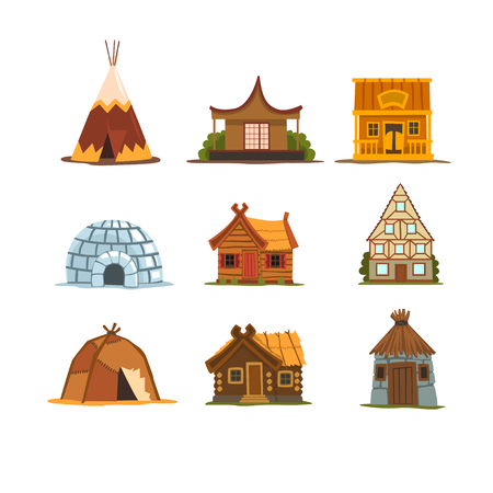 Traditional buildings of different countries set, houses from around the world vector Illustrations on a white background