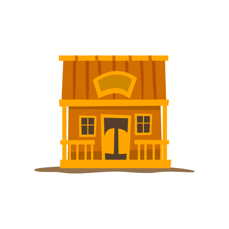 Rustic wooden log cabin, traditional eco house vector Illustration on a white background