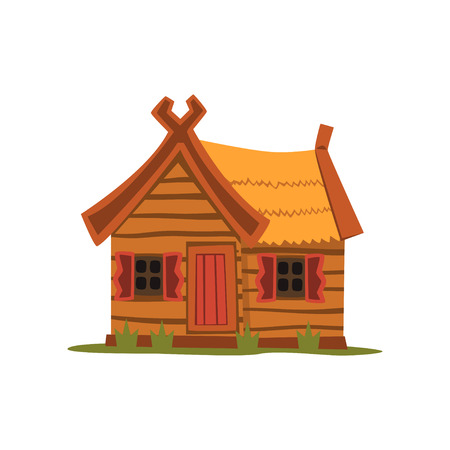 Houten landhuis, traditionele eco huis vector illustratie op een witte achtergrond
