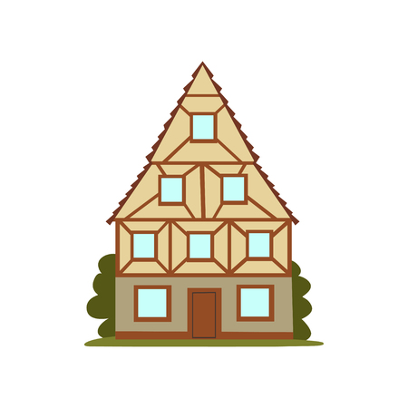 Old house, retro architecture city building vector Illustration on a white background Çizim