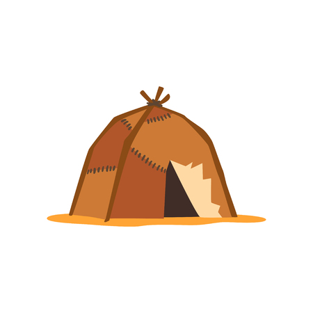 Yaranga, mobile dwelling covered with skins or felt traditional hous of north people vector Illustration on a white background Ilustração