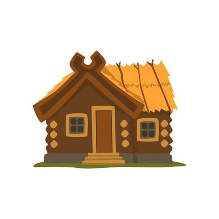 Illustrazione di vettore di baita in legno rustico su sfondo bianco Vettoriali