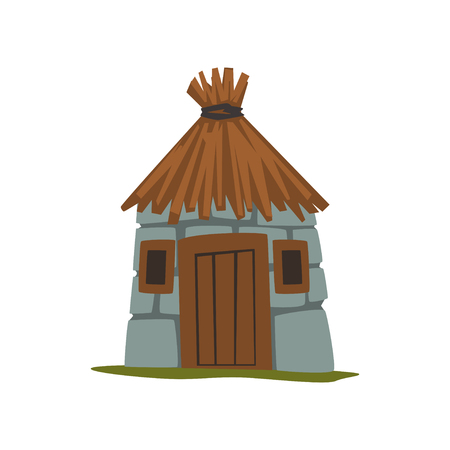 Old stone house with thatched roof vector Illustration on a white background