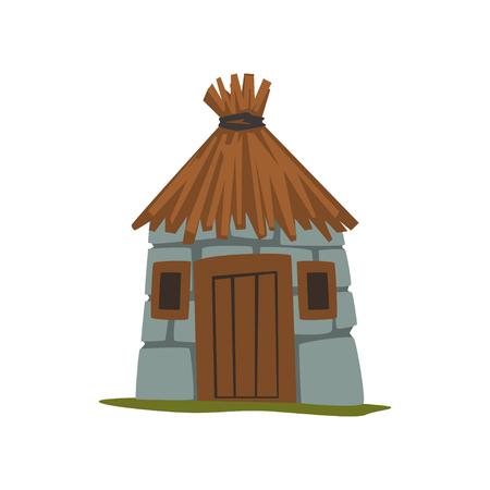 Vecchia casa di pietra con tetto di paglia vettoriale illustrazione su sfondo bianco