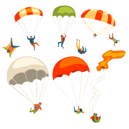 Skydivers flying with parachutes set, extreme parachuting sport and skydiving concept vector Illustrations on a white background