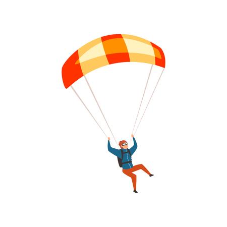 Skydiver vliegen met een parachute, parachutespringen sport en vrijetijdsbesteding concept vector illustratie op een witte achtergrond