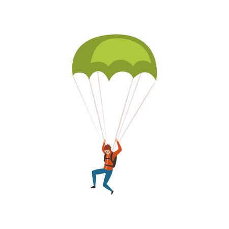 Paracaidista descendiendo con un paracaídas en el cielo, vector de concepto de actividad deportiva y de ocio de paracaidismo ilustración sobre un fondo blanco