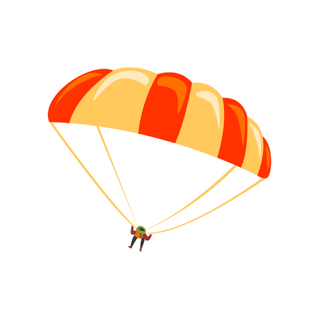 Skydiver flying with parachute in the sky, parachuting sport and leisure activity concept vector Illustration on a white background