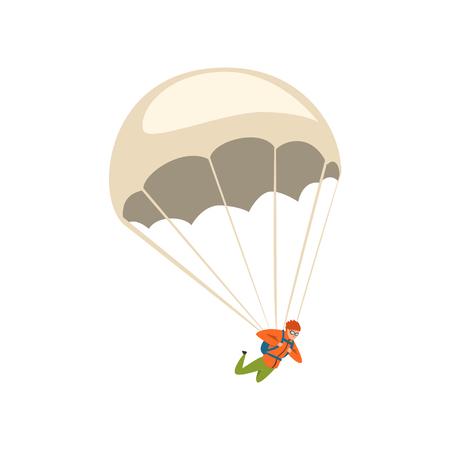 Hombre joven descendiendo con un paracaídas en el cielo, vector de concepto de actividad deportiva y de ocio de paracaidismo ilustración sobre un fondo blanco