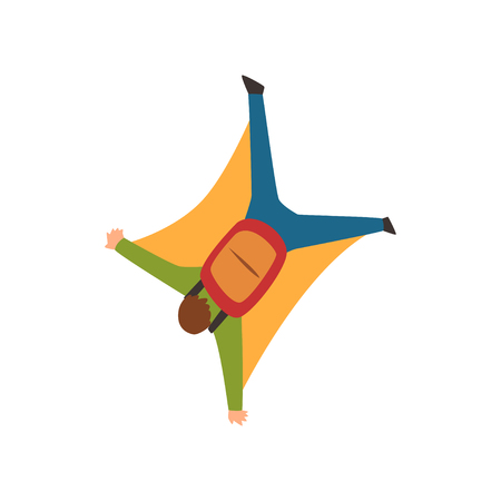 Young man wearing wing suit flying in the sky, extreme sport and skydiving concept vector Illustration on a white background