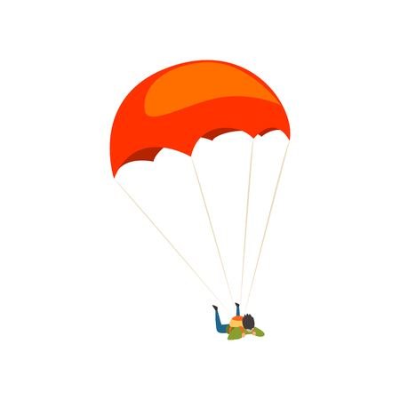 Young man flying with a parachute, parachuting sport and leisure activity concept vector Illustration on a white background
