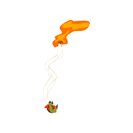 Skydiver falling with unopened parachute, extreme sport and skydiving concept vector Illustration on a white background Illustration
