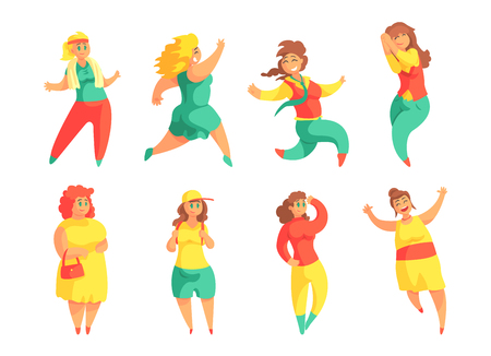 Flat vector set of funny plus size women. Cartoon female characters with overweight. People with happy face expressions