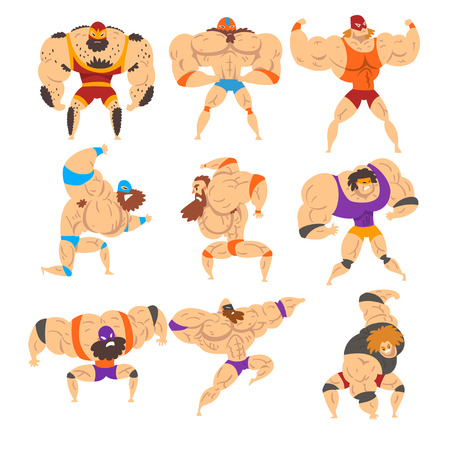 Powerful wrestling fighter characters set, professional wrestler of recreational sports show vector Illustrations on a white background Vettoriali