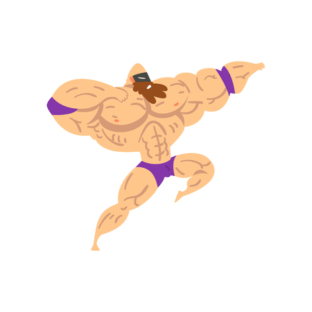 Powerful wrestler character in flying jump kick, professional fighter of recreational sports show vector Illustration on a white background