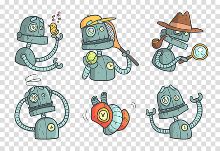 Set with metal robot with different emotions. Cartoon mechanical android in outline style with colorful fill. Vector for mobile game or stickers