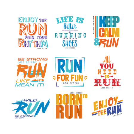 Inspirational and motivational slogans set, design element for running poster, card, decoration banner, print, badge, sticker vector Illustrations Illustration