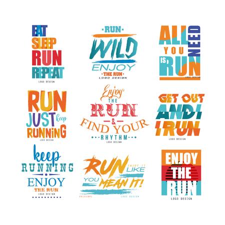 Conjunto de lemas inspiradores, concepto de motivación deportiva, elemento de diseño para correr cartel, tarjeta, banner de decoración, impresión, insignia, vector de pegatina Ilustraciones