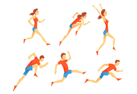 Flat vector set with energetic man and woman in running action. Athletes in sportswear. Professional runners. Active sport people Çizim