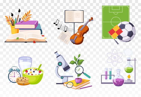 Flat vector set of icons presenting different school subjects. Art and music, sport, biology and chemistry. Tasty breakfast and alarm clock