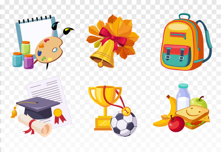 Flat vector set of icons related to school theme. Drawing lessons items, bell and backpack, square hat and diploma, sports awards and tasty lunch Illustration