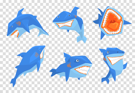 Flat vector set of big blue shark. Marine fish with sharp teeth and large fin on back. Elements for stickers or mobile game Фото со стока - 103956235