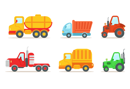 Flat vector set of different types of vehicles. Semi trailer, tractors, lorry, truck with tank. Transport or car theme. Heavy machinery Standard-Bild - 103956262