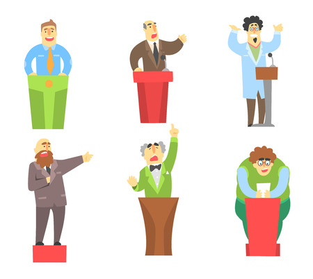 Cartoon men characters giving speech from tribune. Public speakers. University lecturers, student and politician. Flat vector set Illustration