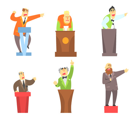 Flat vector set of adult men standing behind tribunes. Cartoon male characters lecturing and giving public speech