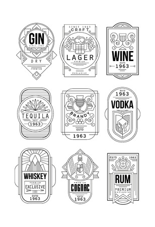 Alcohol labels set, gin, lager, wine, tequila, brandy, vodka, whiskey, cognac, rum retro alcohol industry monochrome emblem vector Illustration on a white background Çizim