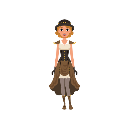 Woman in fancy steampunk clothing. Young girl in chemise dress, corset, gloves, bowler hat and boots with lacing. Flat vector design
