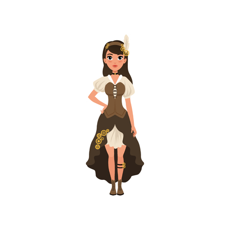 Woman in steampunk outfit. Young girl in blouse with sleeves, corset, skirt with bustle and boots. Fancy clothes for festival. Flat vector Illustration