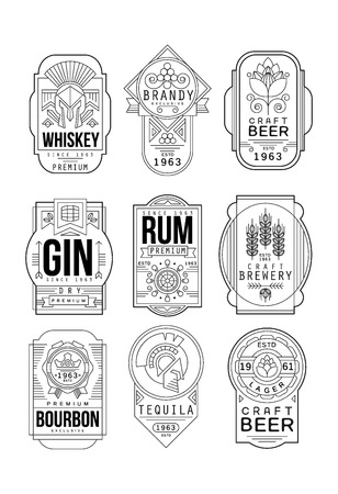 Alcohol labels set, retro alcohol industry monochrome emblem vector Illustration on a white background Illustration