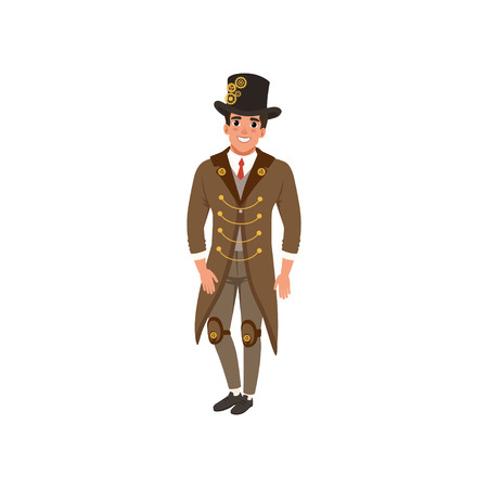 Young man in steampunk suit. Cheerful guy in vintage long jacket, shirt, tie, vest, pants and hop hat with gears. Flat vector design